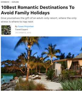 10 best romantic destinations to avoid family holidays